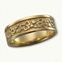 14kt Yellow Gold Shamrock Wedding Band - Assorted Style