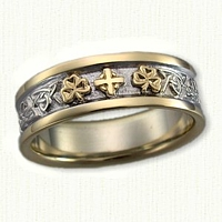 14kt Two Tone Celtic Triangle Knot Band with Raised Shamrocks and Cross