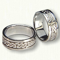 14kt White Gold Celtic Shannon River Knot Wedding Band Set