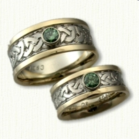 Shannon River knot Band with Bezel set with a .27ct Round Green Diamonds