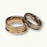 14kt Celtic Shannon River Knot Wedding Band Set