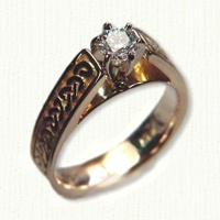 14kt yellow gold 'Bridget' Engagement ring with Shannon River Knot Pattern and round diamond