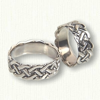 14kt White Gold Sculped Simple Braid Wedding Band Set