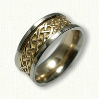 18kt Yellow with 14kt White Rails Celtic Simple Braid Wedding Band