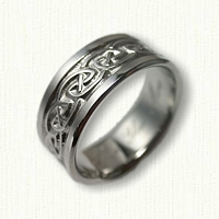 Platinum Celtic S - Loop Knot Wedding Band - 9 mm width