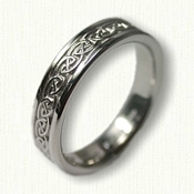 Platinum Celtic S-Loop Knot Wedding Band - 4mm width