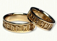 14ky 'Soul Mate' Celtic Rune Lettering Bands