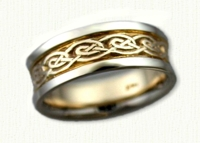 Stretched Celtic Galway Knot Wedding Band. 14Kt yellow center/white rails