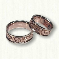 14kt Rose and White Gold Celtic Thistle Knot Wedding Band Set