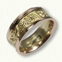 Thistle Block Wedding Band with Triangle