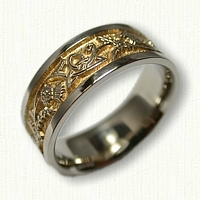 14kt White Gold Celtic Thistle and Triangle Knot Wedding Band with 18kt Electroplating in recessed areas