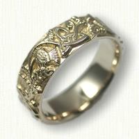 14kt Yellow Gold Celitc Thistle Knot wedding band - no rails (straight edges)