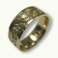 18kt Yellow Gold Triangle & Thistle Knot Wedding Band with diamonds