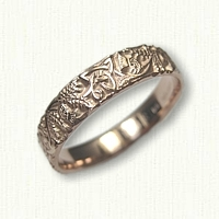 14kt Rose Gold Celtic Triangle & Thistle Wedding Band - straight edges
