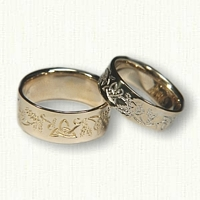 14kt Yellow Gold Celtic Thistle Reverse Etch Wedding Band Set