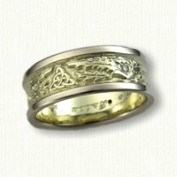 14kt Green Gold Triangle and Thistle Band with Diamonds