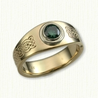 14kt yellow 'Mary' Celtic engagement ring with bezel set green sapphire