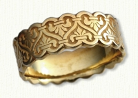 18kt yellow gold Celtic Tramore Knot Wedding Ring with Sculpted Edges