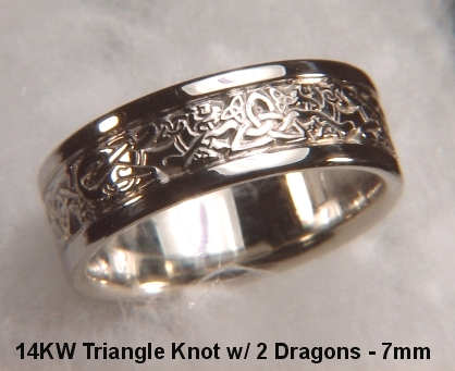 14kt white gold triangle knot wedding band with 2 dragons - Viking Wedding Rings