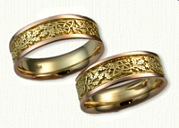 Triangle Knot Wedding Band with Oak Leaves and Acorns Weddding Band Set