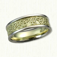 14kt Green Gold and Platinum Custom Initial and Triangle Knot Wedding Band