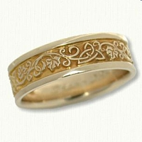 14kt Yellow Gold Triangle Knot Wedding Ring with Ivy Band