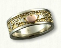 Custom 14kt Two Tone Fleur-de-Lis/ Ankh/ Claddagh wedding band