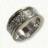 Triangle Knot Wedding Band with 2 Dragons -14kt Two Tone