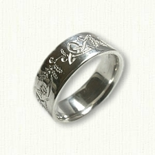 Sterling Silver Celtic Triangle Knot with Thistles Reverse Etch Wedding Band
