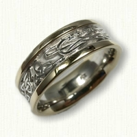 14kt Two Tone Celtic Triangle and Serpent Wedding Band