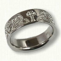 Reverse Etched Triangle Knot with Celtic Cross Wedding Band