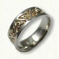 Celtic Triangle Knot Wedding Band - Reverse Etch with 18kt Electroplating in Recessed Areas