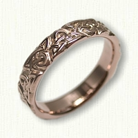 14kt Rose Gold Triangle Knot Band Straight Egdes