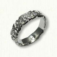 14kt White Gold Celtic Sculpted Triangle Knot Wedding Band