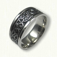 14kt White Gold Celtic Triangle Knot with Initials Wedding Band - hard black enamel in recessed areas