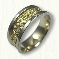 14kt Two Tone Celtic Triangle Knot Band with Oak Leaves and Acorns