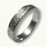 14kt White Gold Celtic Reverse Etch Triangle Knot Band with Thistles- 3.5 mm width (narrow)