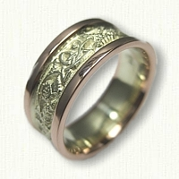 14kt Green & Rose Gold Celtic Triangle Knot with Thistle Wedding Band