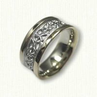 14kt Two Tone Celtic Triangle Knot with Cross Wedding Band