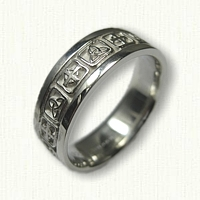 Sterling Silver Celtic Cross and Triangle Knot Band -Alternating