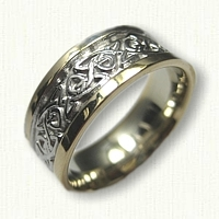 14tk Two Tone Celtic Triangle Knot Wedding Band - 8.0 mm width