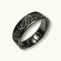 14kt White Gold Celtic Triangle Knot Band with Initials - Black Ruthinium Plated