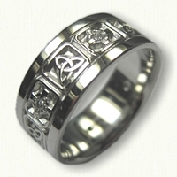 Sterling Silver Celtic Triangle Knot Band Crosses and Diamonds