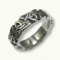 Celtic Triangle Knot Wedding Band -sculpted edges - antiqued