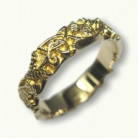 Celtic Triangle & Thistles Knot Wedding Band -sculpted edges