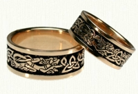 Celtic Triangle Knot Wedding Band with Dragons
