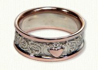 Triangle Knot Wedding Band with Single Claddagh. 14kt white Center, Rose Rails and Raised Rose Heart