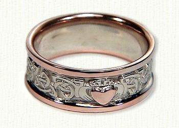 Triangle Knot Wedding Band With Single Claddagh 14kt White Center Rose Rails And Raised