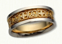 Triangle Knot with alternating Celtic Cross Wedding Band. 14kt yellow center/white rails