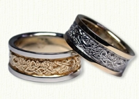 Two tone gold Triangle Knot Wedding Bands with Two Dragons